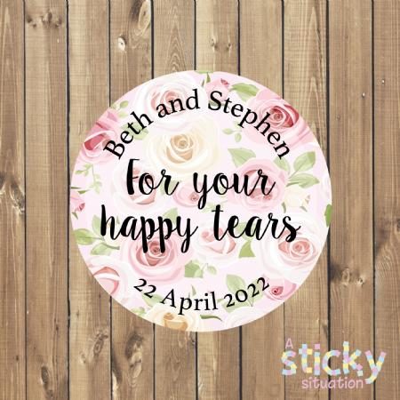 Personalised 'For Your Happy Tears' Stickers - Roses Design